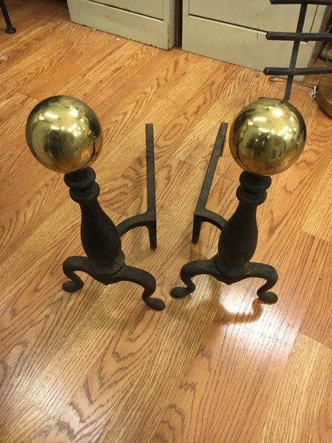 Brass Cannonball Top Cast Iron Andirons