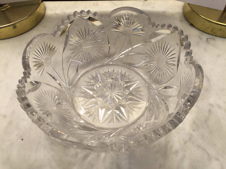 Clear Crystal Bowl Etched Flower - Jarred's Homegoods / Treasure Brokers