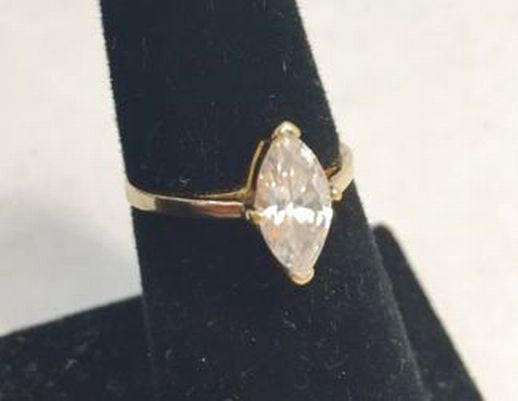 Clear Marquis Cut Goldtone Cocktail Ring Size 7 - Jarred's Homegoods / Treasure Brokers  - 1