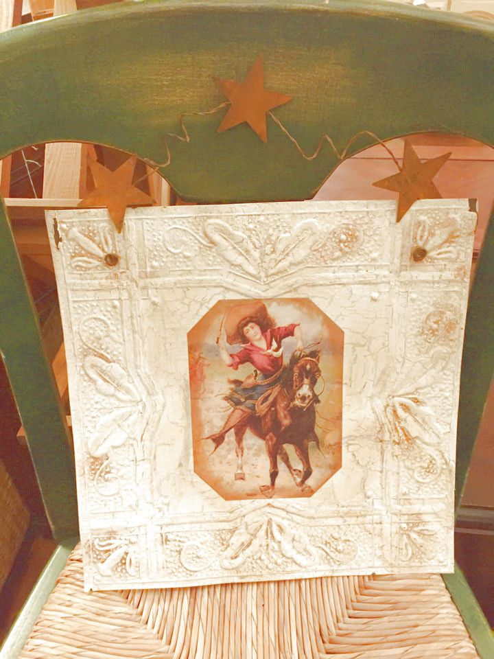 Cowgirl and Horse - Tin Ceiling Tile Repurposed - Star Hanger