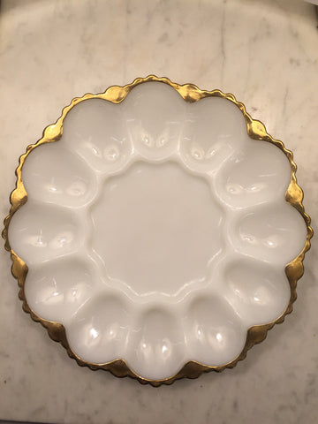 Deviled Egg Milkglass Dish w/ Gold Trim - Jarred's Homegoods / Treasure Brokers