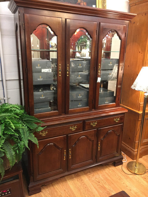 "Dining Hutch Illuminated, Glass Doors, 54""W, 19""D, 79.5""H"