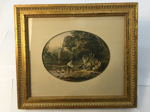 Framed Print - Oval in Rect   Family  / Dog /  Watermill 11 x 10 - Jarred's Homegoods / Treasure Brokers  - 1