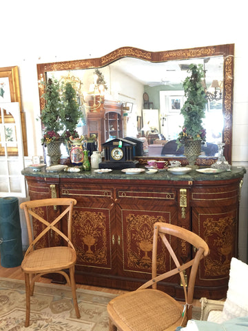 French Green Marble Top Server w/ Mirror - Jarred's Homegoods / Treasure Brokers