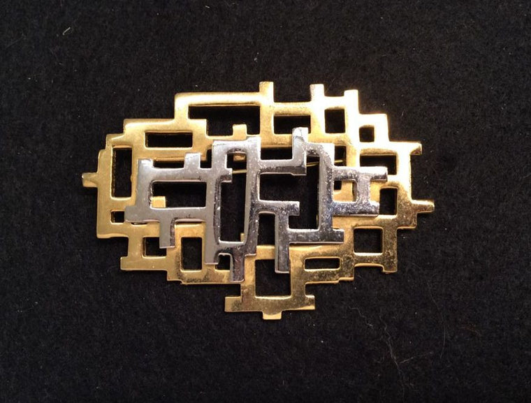 Geometric Silver/Goldtone Pin/ Brooch - Jarred's Homegoods / Treasure Brokers  - 1