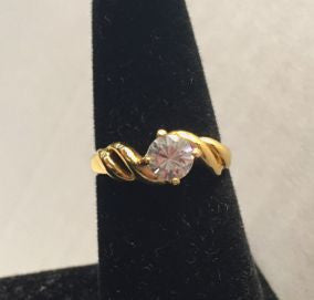 Goldtone Solitaire Cocktail Ring Size 7.5 - Jarred's Homegoods / Treasure Brokers  - 1
