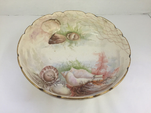 Hand Painted Bowl -  Sea Shells  Numbered & Footed - Jarred's Homegoods / Treasure Brokers  - 1