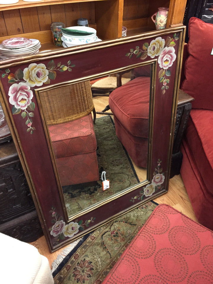 Hand Painted Floral Wood Framed Mirror -