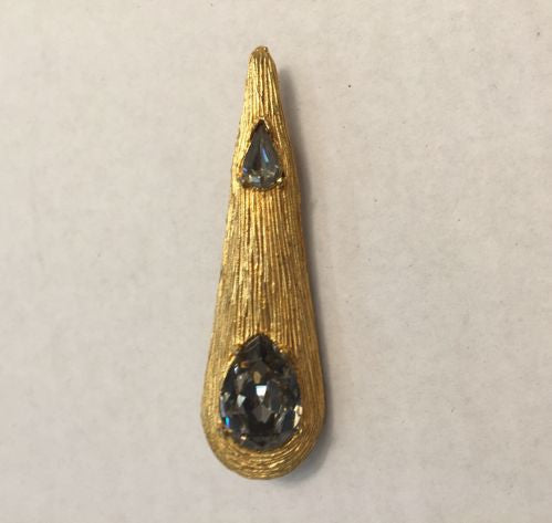 Jeanne Goldtone Tear Drop Brooch Pin w/ Smokey Crystals - Jarred's Homegoods / Treasure Brokers  - 1