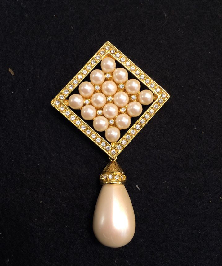 Joan Rivers Crystal and Pearl Drop Brooch /Pin