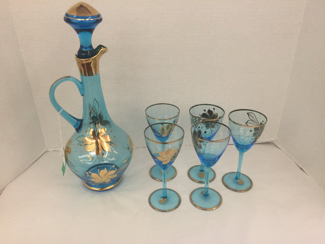 Light Blue Tall Glass Pitcher w/ Hand Painted Gold & 5 Stemware - Jarred's Homegoods / Treasure Brokers  - 1