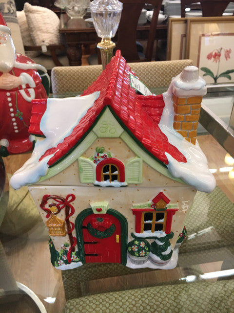 Mary Engelbreit Holiday Cottage Christmas Cookie Jar 2000  Holiday