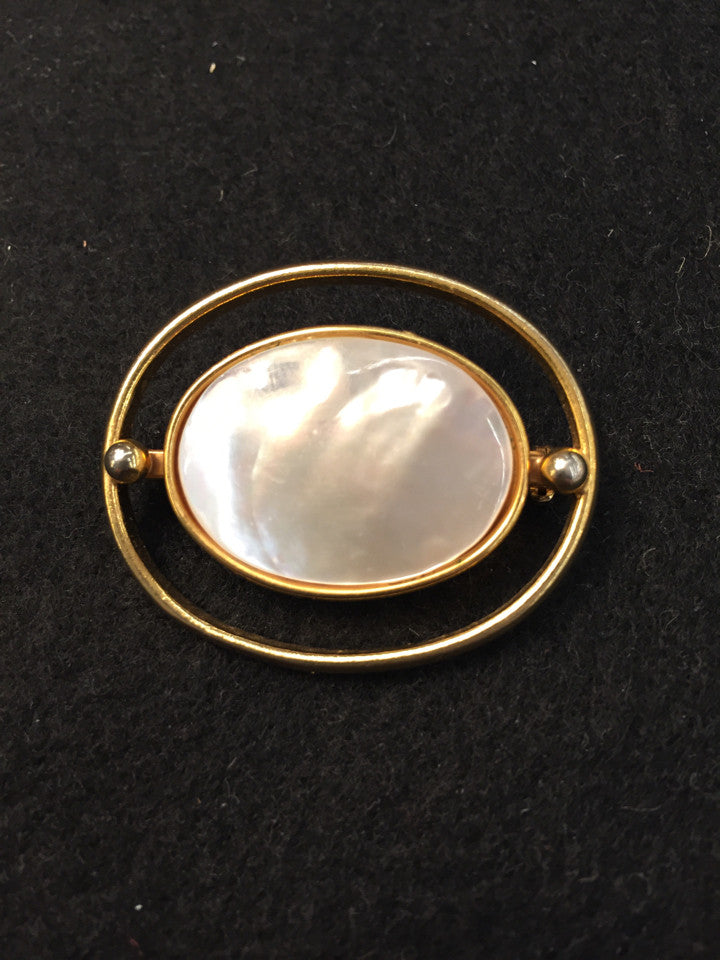 Oval Abalone/ Mother of Pearl Brooch/ Pin