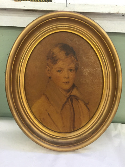 Oval Gold Frame Boy - Jarred's Homegoods / Treasure Brokers  - 1