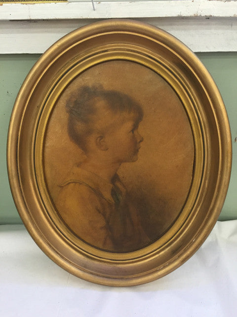Oval Gold Frame Girl - Jarred's Homegoods / Treasure Brokers  - 1