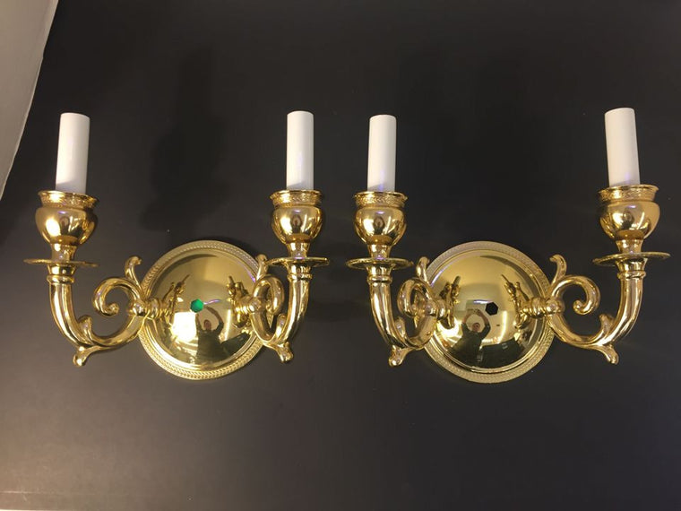Pair of Double Light Brass Sconces
