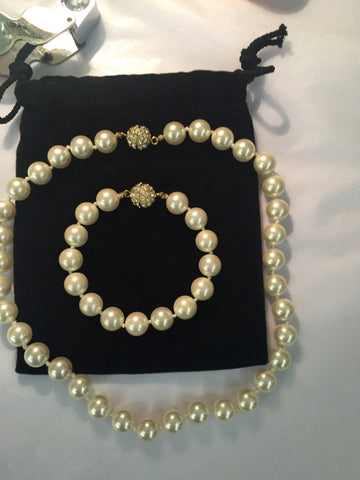 Pearl with Rhinestone ball Clasp Necklace & Bracelet/Extension - Jarred's Homegoods / Treasure Brokers  - 1