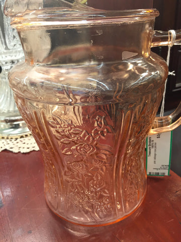 Pink Glass Cabbage Rose Pitcher - Jarred's Homegoods / Treasure Brokers  - 1
