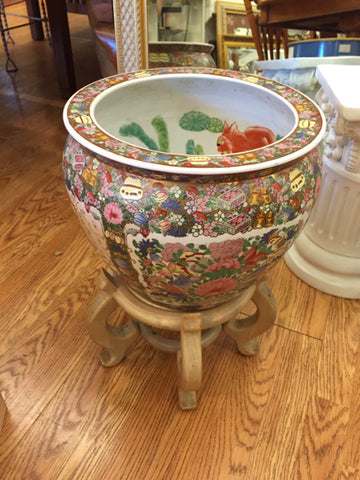 Rose Medallion Fish Bowl Planter w/ Stand - Jarred's Homegoods / Treasure Brokers  - 1