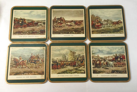 Set of 6 Coaching Scene Coasters English - Jarred's Homegoods / Treasure Brokers