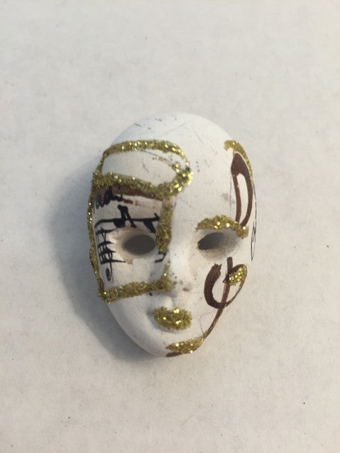 Signed Mardi Gras Mask Pin Gold Glitter - Jarred's Homegoods / Treasure Brokers  - 1
