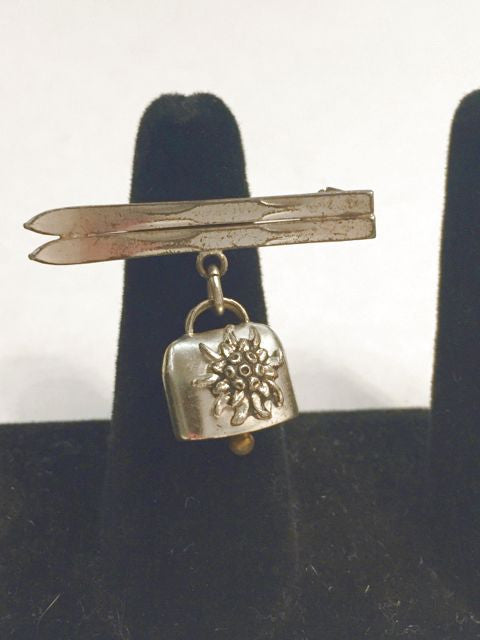 Ski Pin with Bell A.A. Lyon Made in France Sterling Silver - Jarred's Homegoods / Treasure Brokers  - 1