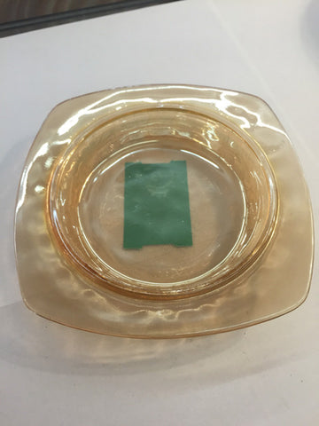 Square Iridescent Marigold Carnival Glass Etched Floral Dish - Jarred's Homegoods / Treasure Brokers