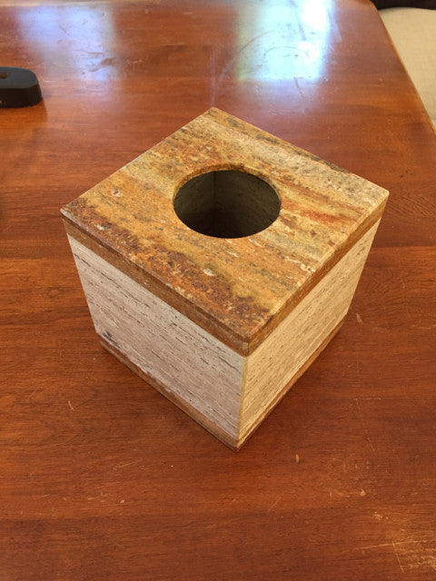 Travertine Tissue Box Cover - Jarred's Homegoods / Treasure Brokers