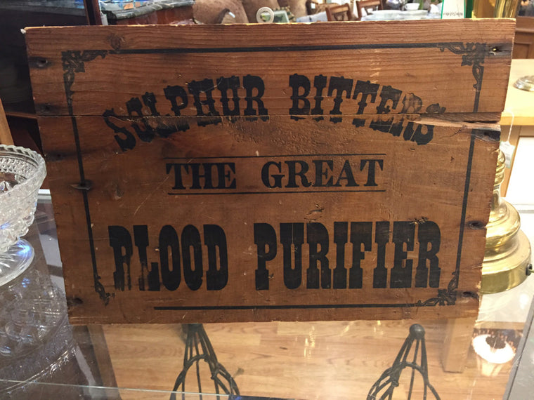 "VINTAGE WOOD ADVERTISEMENT SIGN ""Sulfer Bitters"""