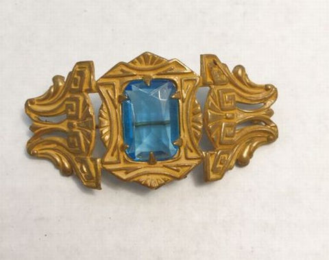Vintage Art Deco Style Emerald Cut Aquamarine Color Stone Goldtone Brooch Pin - Jarred's Homegoods / Treasure Brokers  - 1