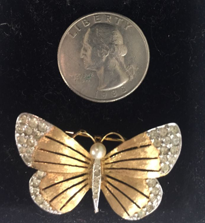 Vintage Butterfly Pin/Brooch Signed Panetta Crystals Pearl - Jarred's Homegoods / Treasure Brokers  - 1