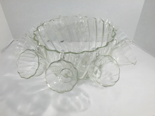 Vintage Clear Glass Candlewick Punch Bowl w/ 12 Cups - Jarred's Homegoods / Treasure Brokers  - 1