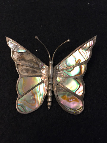 Vintage Sterling Silver 925 Mexico AS IS Abalone Butterfly Pin/Brooch -   - 1