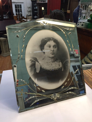 Vintage Venician Style Mirror Frame w/ Black and White Portriat Photo - Jarred's Homegoods / Treasure Brokers  - 1
