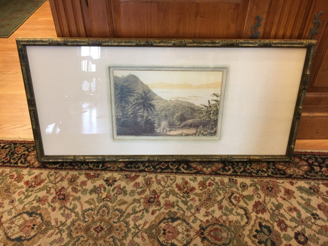 Vintage Verdigree Washed Bamboo  Framed Print