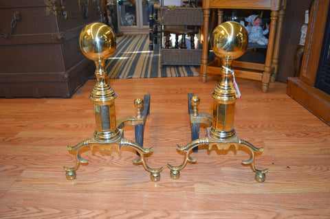 Virginia Metalcrafters Colonial Williamsburg Brass Andirons