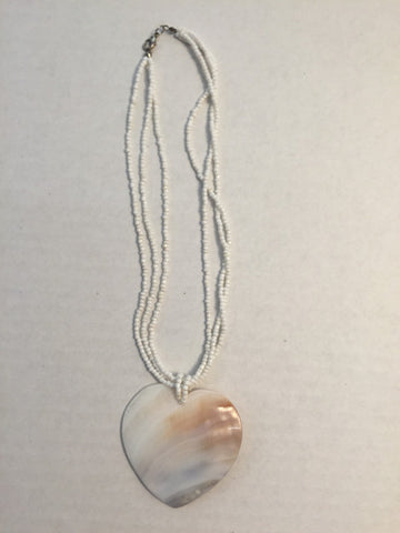 "White Heart Shell Pendant Beaded 17"" Necklace - Jarred's Homegoods / Treasure Brokers  - 1"