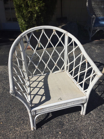 White Rattan Chair with Cushions