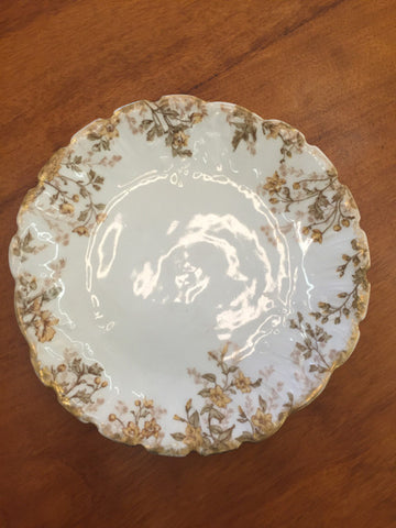 Yellow Flowers Gold Trim Limogue Plate - Jarred's Homegoods / Treasure Brokers  - 1