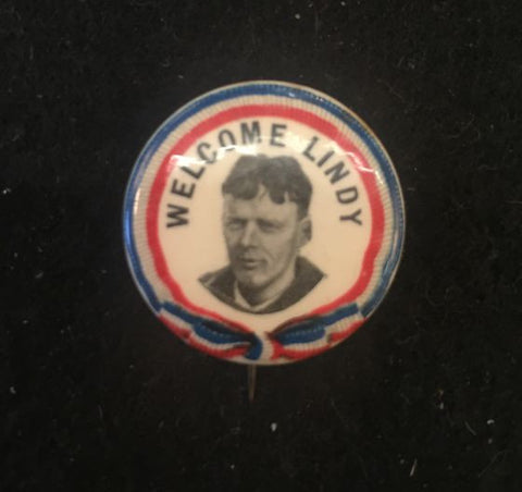 ld 1927 pin Welcome Lindy Charles LINDBERGH Button Aviation + Paper Insert - Jarred's Homegoods / Treasure Brokers  - 1
