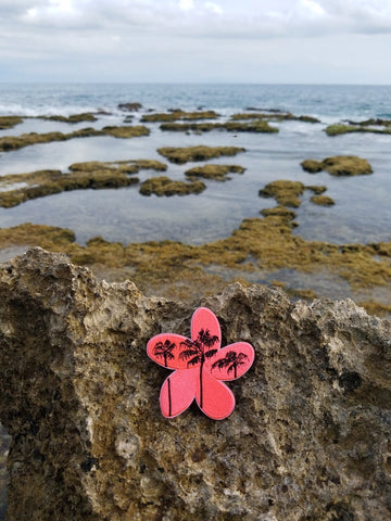 FLUORESCENT PINK HAWAIIAN PALM TREE PLUMERIA V1 - Tactical Outfitters