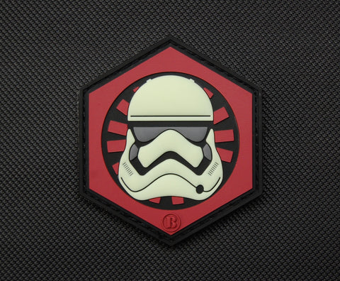 First Order GITD Stormtrooper Helmet PVC Morale Patch - Tactical Outfitters
