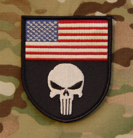 Punisher US Flag Morale Patch - Tactical Outfitters