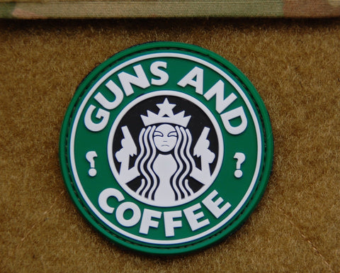 GUNS AND COFFEE VELCRO PVC MORALE PATCH - Tactical Outfitters