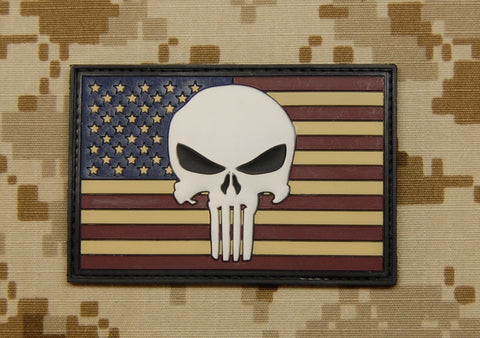 PUNISHER US FLAG PVC MORALE PATCH - Tactical Outfitters