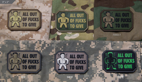 All Out Of Fucks To Give PVC Morale Patch - Tactical Outfitters