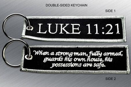 LUKE 11:21 EMBROIDERED KEYCHAIN TAG - Tactical Outfitters