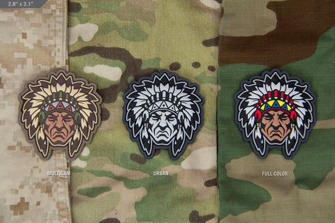 NATIVE AMERICAN WARRIOR HEAD 1 MORALE PATCH - Tactical Outfitters