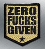 ZERO FUCKS GIVEN SHIELD MORALE PATCH - Tactical Outfitters