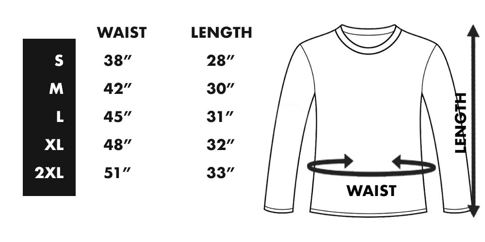 KC Wonder Premium Long Sleeve Tee Sizing Chart